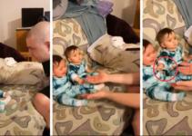 (VIDEO) Bebé defiende a su hermanita de un 'extraño'; era su papá rasurado.