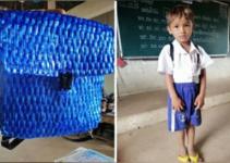 Se emociona al ver la humilde mochila que el padre de su alumno hizo para su hijo..